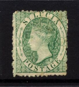 St Lucia SG 8 Cat £190 Wmk CC Reversed 1863 Emerald Green Low price for having n