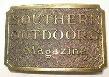 "Vintage Southern Outdoors Magazine Rectangular Brass Belt Buckle 3 3/8"" x 2 1/8"""