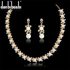 Women Jewelry Special Wedding Gifts Rhinestones Pearls Necklace Earrings set