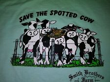 """🔥 Vintage 80's """" Save The Spotted Cow"""" Smith Bros. Farm T-Shirt L 50/50 Tee 👕"""