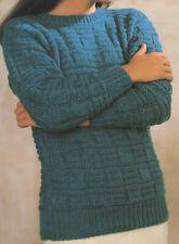 Ladies Girls Chunky Textured Sweater Jumper Knitting Pattern