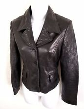 Bebe Moda Leather Moto Jacket Women Size 2 S Black Soft Button Distressed Fitted