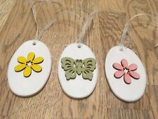 Handmade Set Of 3 Clay and Wood Spring theme Hanging Decorations/Gift Tags