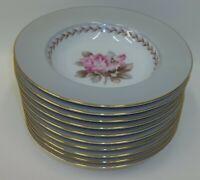 """10 Vintage #5048 Noritake Rosemont China Dinnerware 8"""" Soup Salad Bowls"""