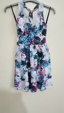 Animal Womens halter neck Floral Dress Blue, Pink, Grey and White Size 6