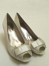 Lily Rose Satin Diamanté Bridal Deb Light Ivory Shoes Size 40 Hill 6cm Open Toe