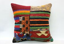 Patchwork Pillow, 18x18 in, Decorative Kilim Cushion, Handmade Vintage Pillow