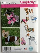 Simplicity Sewing Pattern 1239  Dog Puppy Clothes Coat Coats Scarf Hat Sz Sm-Lg