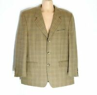 "Men's Vintage C&A CANDA Beige Check Wool Blazer Jacket Size XL Pit To Pit 24"""