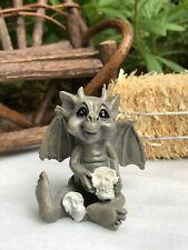 Miniature Dollhouse FAIRY GARDEN ~ Mini HALLOWEEN Baby Gargoyle with Skulls