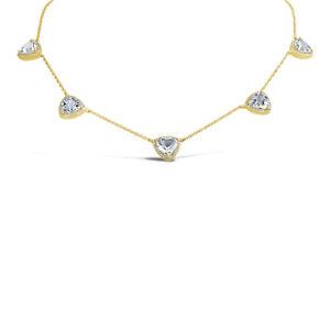 7.17 tcw 14K Yellow Gold Natural Triangle Cut White Topaz Diamond Necklace