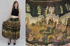 Vintage 70s Thin Cotton Gauze Ethnic INDIA Elephant Print FULL Hippie Boho Skirt