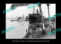 OLD LARGE HISTORIC PHOTO MILNE BAY PNG SHIP SUNK BY THE JAPANESE IN WWII c1942