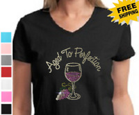 Funny Rhinestone Aged To Perfection Wine Cocktail Womens Cotton V Neck t-shirt
