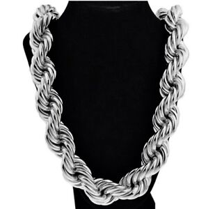 """Mens Huge Rope Chain 36"""" x 25MM Thick Hollow Dookie Silver Tone Hip Hop Necklace"""