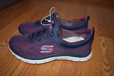 NEW Womens Skechers Navy Pink Bungee Slip-On Flex Appeal Athletic Shoes 7 US