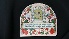 Vintage Door way Gate, Bird, Floral Valentine Card c. 1920s Beistle