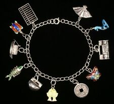 Vintage Chinese Silver and Enamel Charm Bracelet; Detailed Two-Sided Charms