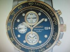SEIKO MEN'S WATCH ALARM CHRONO ALL S/S TWO TONE SAPPHIRE JAPAN SNAA64