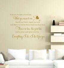 Bryan Adams - Everything I Do Wedding Song Lyrics Music Wall Art Vinyl Decal
