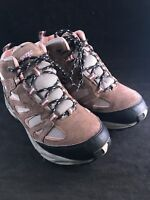WOMEN'S SIZE 6 1/2 GRAY, PINK & BLACK WITH TAN SUEDE TRIM HI-TEC HIKING BOOTS