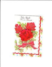 1 card Italian Christmas Greeting Card - Sweetheart female Fidanzata red roses