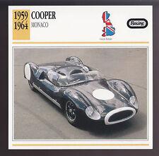 1959-1964 Cooper Monaco Race Car Photo Spec Sheet Info CARD 1960 1961 1962 1963