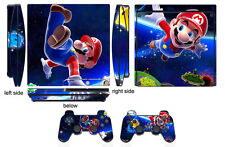 Skin Sticker for PS3 PlayStation 3 Slim and 2 controller skins Mario Q906
