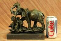 Elephant Family Bronze Statue Animal Sculpture Metal Figurine Home Decor Figure