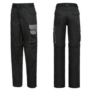 Damen Arbeitshose Bundhose Cargohose Reißverschluss Zip-Off | Schwarz | Gr. 42