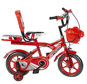 Bicycle 12-T Robust Double Seat Boy's and Girl's Bicycle (2-5 Years, Dark Red)