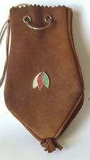 """Medium~Dark Brown Leather Drawstring Pouch Coin Jewelry Bag Pouch 9 1/2"""" x 5"""