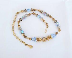 Vintage Blue Gold Crystal Aurora Borealis Bead Necklace