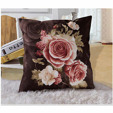 "New Victorian Throw Pillow Cover Case Brown Pink Ivory Romantic Roses 18"" velvet"
