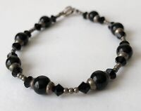 "Vintage Genuine Black Stone & Sterling Silver 925 Bead & Clap Bracelet 6.25"""