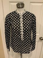 J. Crew Black & White Floral Print Long Sleeve Pop-Over Top, Size 0