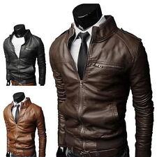 Men's Fashion Jackets Collar Slim Biker Motorcycle Leather Jacket Coat Outwear