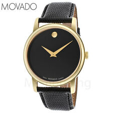 Movado Museum Black Dial Gold Black Leather Mens Watch 2100005 - FREE Shipping!