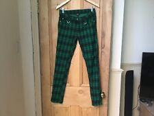 Green Tartan Check Skinny Goth/Punk Trousers  GENUINE BANNED Apparel M (Size 12)
