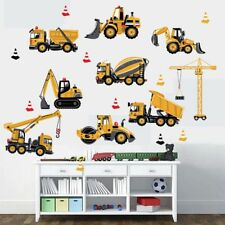 Cartoon Engineering Vehicles Decal Removable Wall Stickers DIY Kids Room Decor