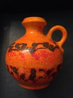 Orange 1960-70s WALTER GERHARDS Handled Jug Vase 270-16 W German Fat Lava MCM