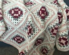 Handmade Crochet Granny Square Blanket Throw Pink Cream Shabby Chic