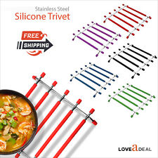 Stainless Steel Trivet Silicone HotPot Pan Stand Kitchen Worktop Saver Protector