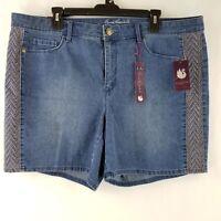 Gloria Vanderbilt Womens Denim Jean Shorts Embroidered Blue Size 22W 24W NEW