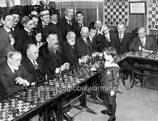 """Photo 1919-21 France """"Samuel Reshevsky at Age 8 Playing Chess Masters"""""""