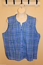 JANE ASHLEY Blue Plaid 100%Cotton Button Down Sleeveless Plus Top,Shirt 3X