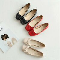 New Women Square Toe Ballet Flats Bowknot Comfortable Slip On Driving Boat Shoes