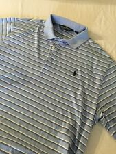 Men's Ralph Lauren Polo Golf Baby Blue w/ White Stripes Size L Large - Genuine!