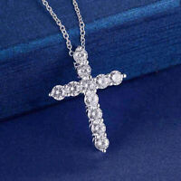 Women 925 platted Silver CZ Cubic Crystal Cross Pendant Necklace Diamante Gift