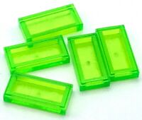 Lego 5 New Trans-Bright Green Tiles 1 x 2 with Groove Flat Smooth Pieces